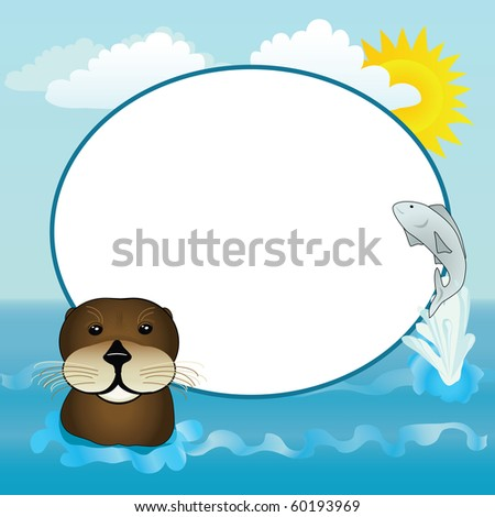A happy otter and jumping fish with a sunny water frame. - stock photo