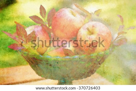 A harvest centerpiece filled with apples turned into a colorful autumn pointillism style painting - stock photo