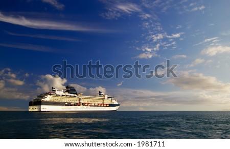 A Hawaiian cruise ship at sea - stock photo