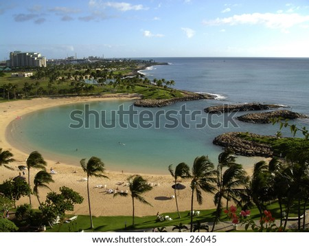 A Hawaiian lagoon - stock photo