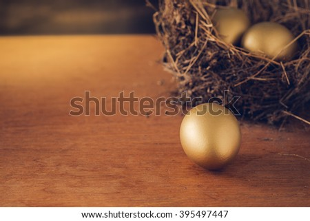 A Hay Nest with 3 golden Eggs.  Wealth concept. - stock photo