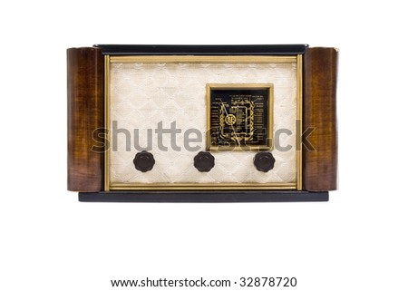 A HDR image of an old vintage radio - stock photo