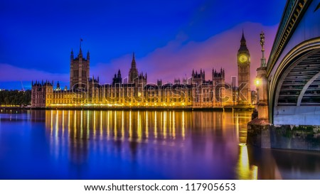 A hdr image of the British houses of parliament - stock photo