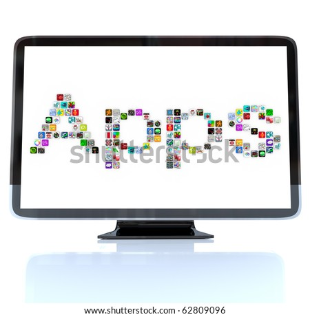 A HDTV television with the word Apps made of application tile icons - stock photo