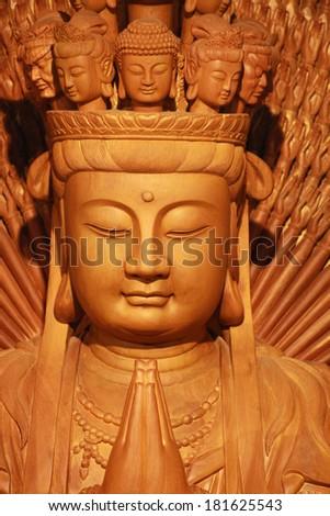 A Head Shot of Kuan Yin, Goddess of Mercy - stock photo