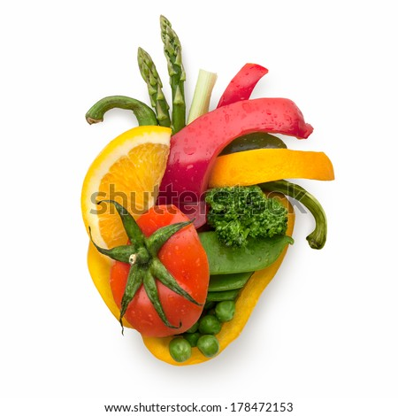 A healthy human heart made of fruits and vegetables as a food concept of smart eating. - stock photo