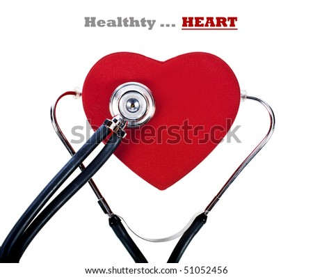 a Healthy red heart balanced on a doctor's stethoscope - stock photo