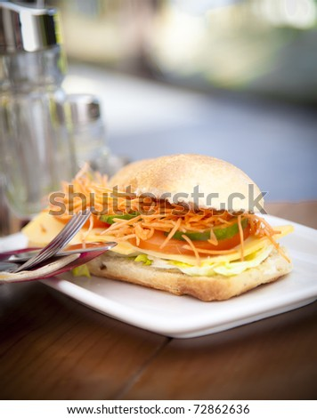 A healthy sandwich presented at a white dish, a healthy meal for a diet. - stock photo