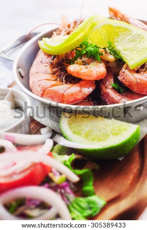 A healthy shrimp salad (shallow dof) - stock photo