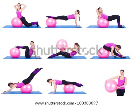 A healthy young woman exercising with fit-ball in gym. Collage of nine photos on the topic sport. - stock photo