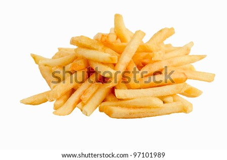a heap of french fries isolated on white  background - stock photo