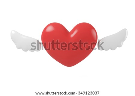 A heart-shaped and two wings to fly. - stock photo