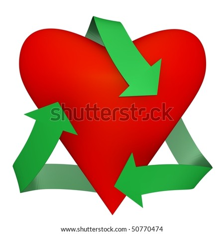 A heart with recycle symbol - 3d image - stock photo