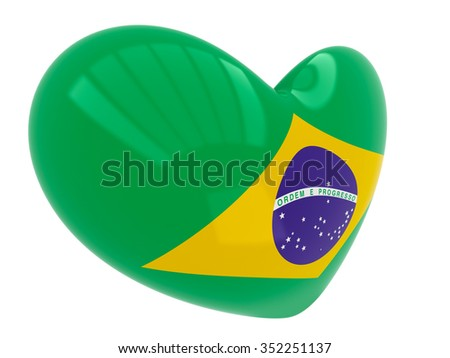 A heart with the flag of Brazil isolated on a white background - stock photo