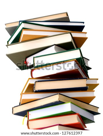 A high colorful book stack - stock photo