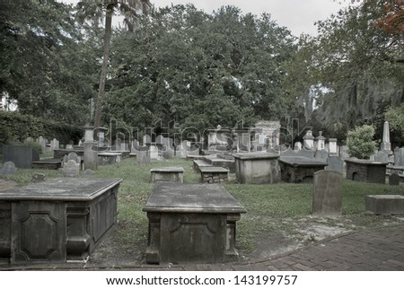 A high-contrast desaturated capture of an old southern cemetery in Charleston, South Carolina. - stock photo