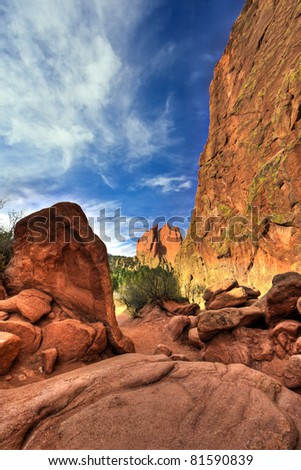 A high dynamic range landscape photo of the red rocks in the Garden of the Gods park in Colorado Springs, Colorado. - stock photo