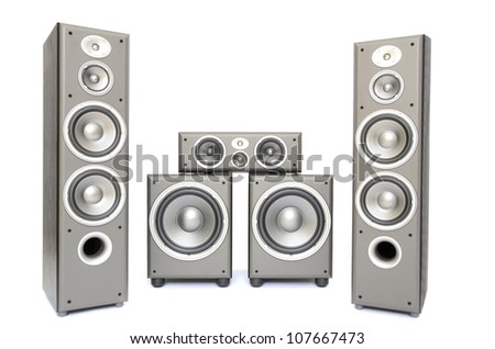 a high fidelity audio surround system isolated on white - stock photo