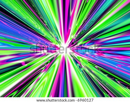 A high res, computer generated image that simulates light at the end of a heavenly tunnel, the speed of light, or a time warp - stock photo