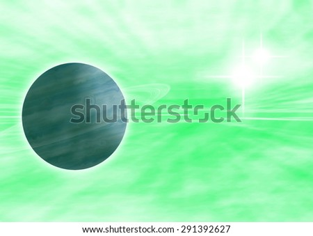 A high resolution background with a planet hidden in the green nebula with a sun in the right corner - stock photo
