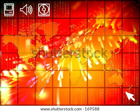 A high tech illustration with unfolded map of the world and binary code. - stock photo