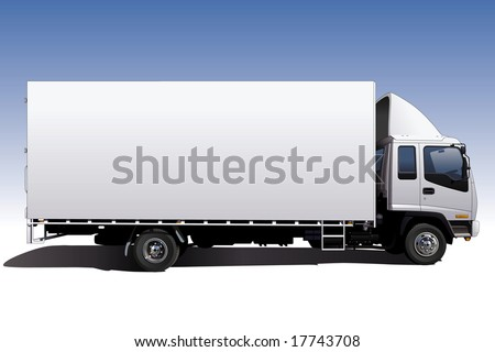 A highly detailed illustration of a long wheelbase canvas sided truck. Perfect for applying company graphics to. - stock photo