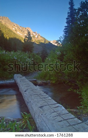 A hiking trail in the mountains of Washington State - stock photo