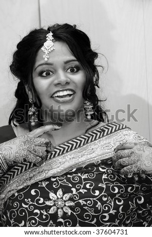 A hindu bride on her wedding day - stock photo