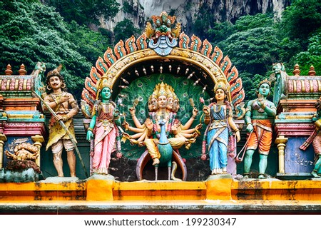 A Hindu temple at the Batu Caves in Kuala Lumpur - stock photo