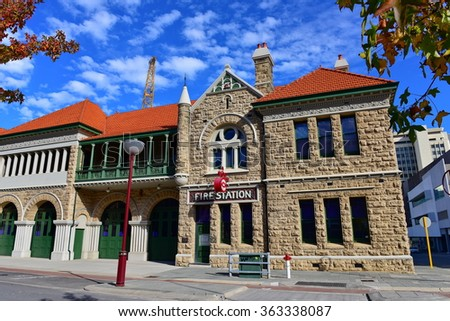 A historic fire station in Perth, Western Australia - stock photo