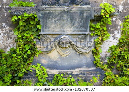 a historic tomb on the St. John's Cemetery in Jena - stock photo