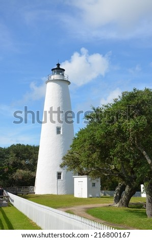 A historic white lighthouse at Ocracoke North Carolina - stock photo