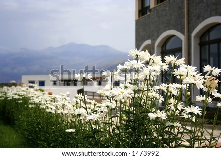 A home by the mountaineous region of Crete, Greece. - stock photo