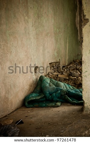 A homeless guy place to spend the night. - stock photo