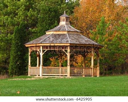 a horizontal shot of a gazebo in a park - stock photo