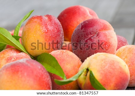 A horizontal view of peaches - stock photo