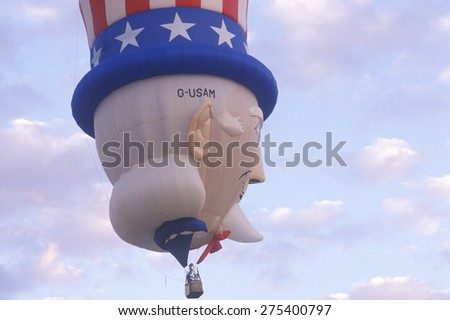 A hot air balloon shaped like Uncle Sam at the Albuquerque International Balloon Fiesta, Albuquerque, New Mexico - stock photo