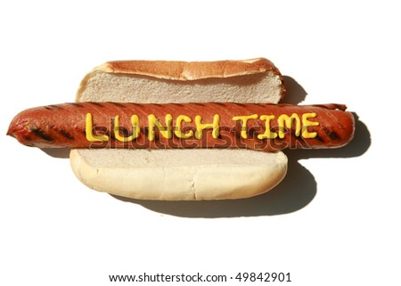 "a hot dog with the words ""Lunch Time"" in yellow mustard  isolated on white with room for your text or images - stock photo"