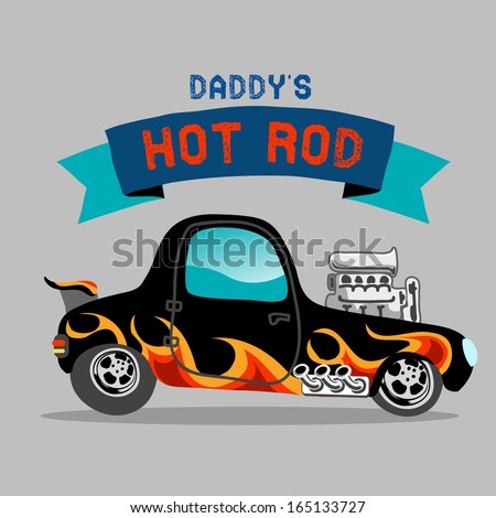 A hot rod car with flame paint - stock photo