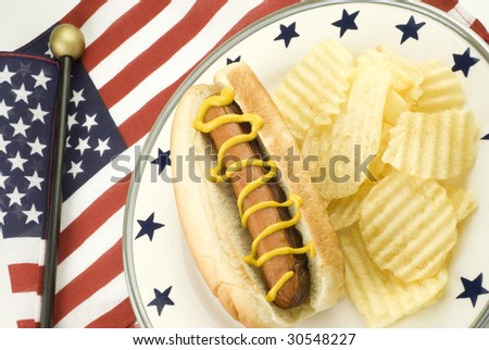 A hotdog with mustard on a plate with potato chips and an american flag, with patriotic theme, horizontal with copy space - stock photo