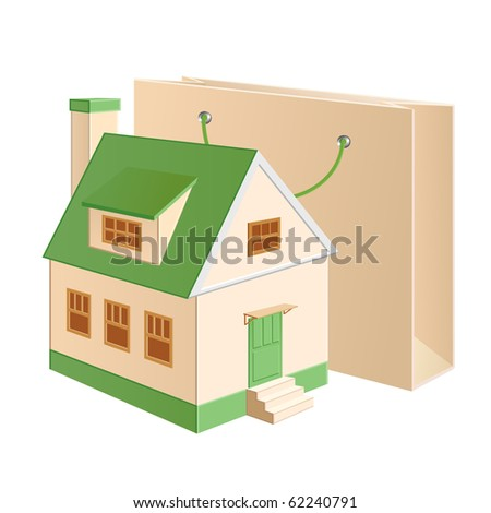 A house model near a shopping bag - stock photo
