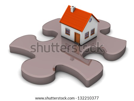 A house on the grey puzzle. White background. - stock photo
