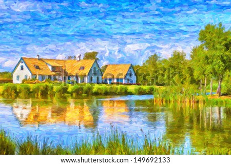 A house stands by the lakeside in the skane region of Sweden near to the village of Torekov. - stock photo