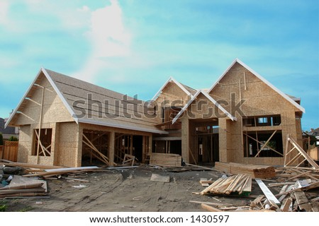 A house under construction - stock photo