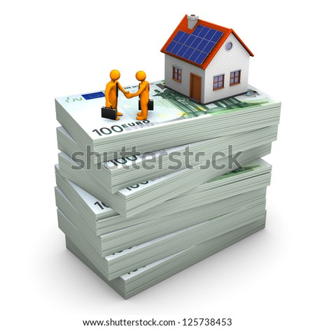 A house with orange toons on the hundred euro notes. White background. - stock photo