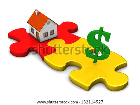 A house with two puzzle pieces and green symbol of dollar. - stock photo