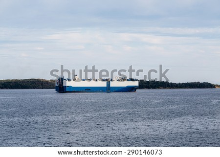 A huge blue and white tanker on the sea - stock photo