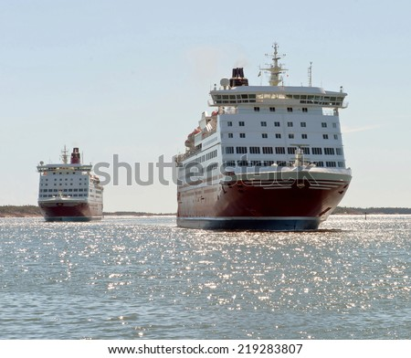 A huge ferries on the way from Mariehamn (Finland) to Stockholm (Sweden) - stock photo