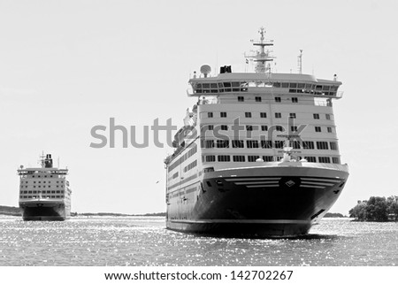 A huge ferries on the way from Mariehamn (Finland) to Stockholm (Sweden) - Black and White - stock photo