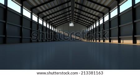 A huge hangar for equipment, 3d render - stock photo